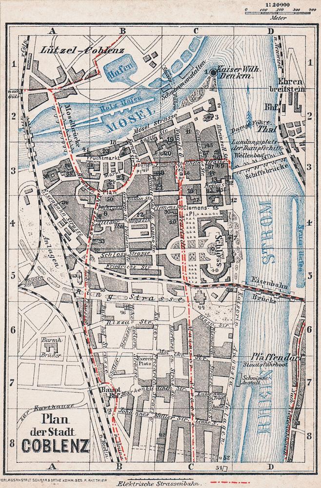 Stadtplan von Koblenz, ca. 1905.