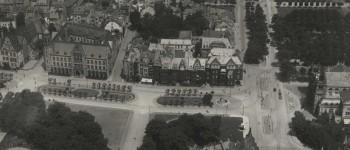 Luftaufnahme des Kaiser-Friedrich-Rings. Rechts im Bild die alte Koblenzer Festhalle. [Quelle: Stadtarchiv]