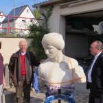 Kopf des Barbara-Denkmals beim Restaurator [Quelle: Verein der Freunde und Förderer Barbara-Denkmal e.V. Koblenz]